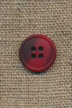 4-huls knap rød/mørkerød meleret, 15 mm.