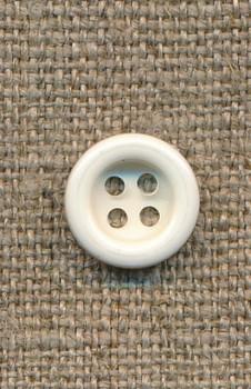 4-huls knap knækket hvid 11 mm.