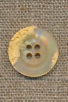 4-huls knap krakeleret lysegul/creme, 20 mm.