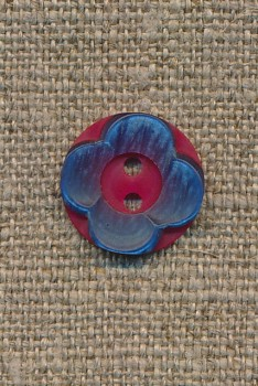Blomster knap hindbærrød/blå