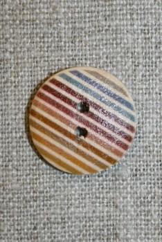 Træ-knap med striber 20 mm.