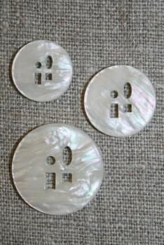 Meleret knap m/sjove huller i 3 str. off-white
