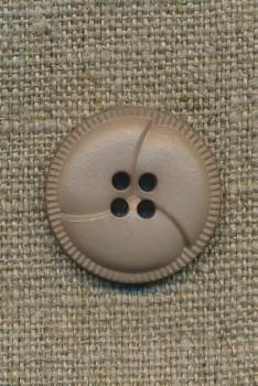 4-huls knap i læder-look, sand 23 mm.