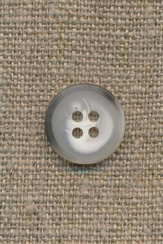 4-huls knap meleret hvid/lysegrå/grå-brun 15 mm.