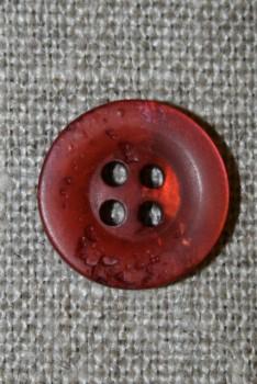 4-huls knap krakeleret brændt orange-rød, 15 mm.