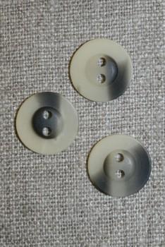 2-huls knap meleret off-white/grå-brun, 15 mm.