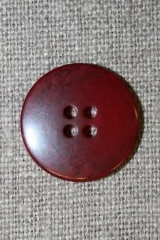 Mørk rød meleret 4-huls knap, 20 mm.