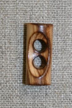 Aflang brændt træknap/knebel 25 mm.