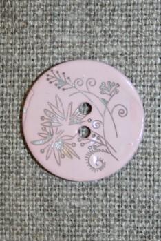 Perlemors-knap m/blomst, babylyserød