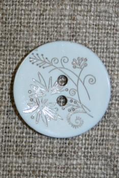 Perlemors-knap m/blomst, babylyseblå
