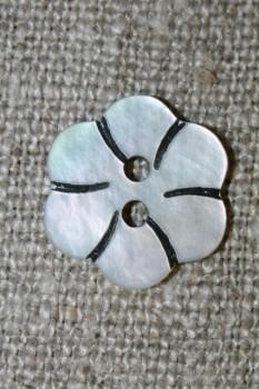 Perlemorsknap lys/natur m/blomst 15 mm.
