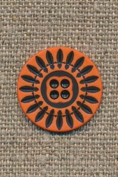 4-huls knap orange m/sorte streger, 20 mm.