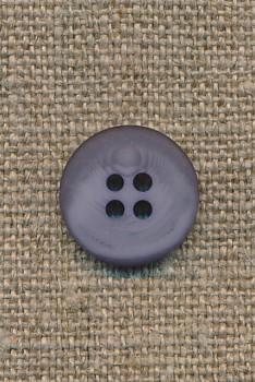 4-huls knap grå-meleret 15 mm.
