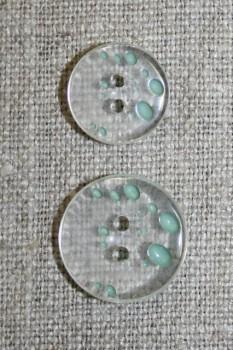 2-huls knap m/prikker klar/lys støvet grøn i 2 str.