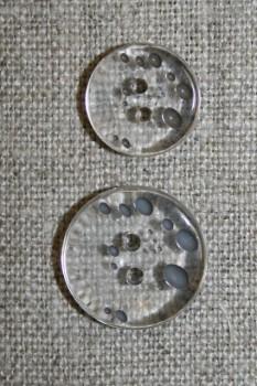 2-huls knap m/prikker klar/grå-brun i 2 str.