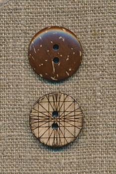 Kokos knap m/streger, 20 mm.