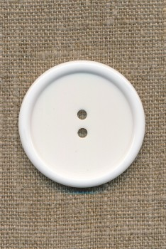 Stor hvid 2-huls knap, 38 mm.