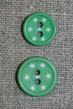 2-huls knap m/stjerner, grøn