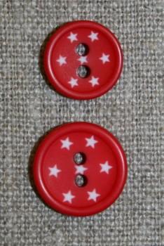 2-huls knap m/stjerner, rød
