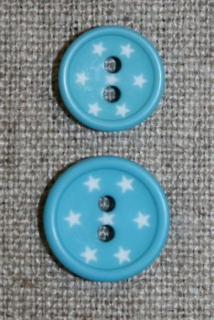 2-huls knap m/stjerner, turkis