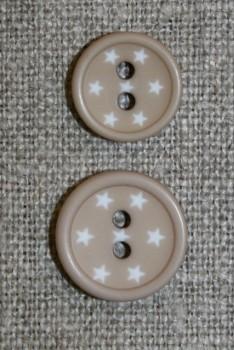 2-huls knap m/stjerner, pudder-beige
