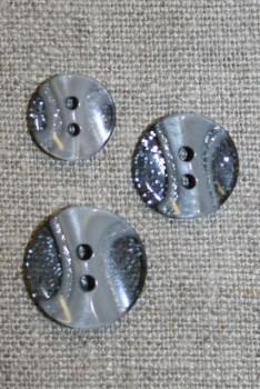 2-huls knap transperant m/glimmer/grå i 3 str.