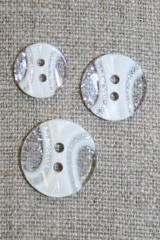 2-huls knap transperant m/glimmer/hvid i 3 str.