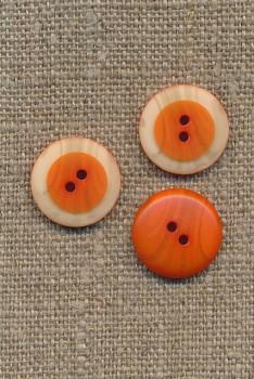 2-huls knap m/træ-look kant, orange