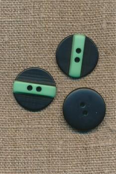 2-huls knap sort m/mint streg, 20 mm.
