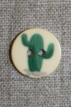 2-huls knap creme m/kaktus mørkegrøn, 18 mm.