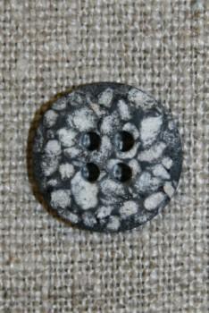 4-huls knap i sten-look sort/grå/hvid, 15 mm.