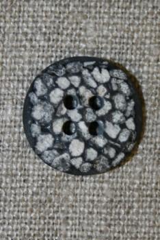 4-huls knap i sten-look sort/grå/hvid, 18 mm.