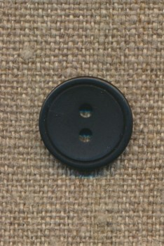 2-huls knap m/kant sort, 15 mm.
