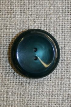 2-huls knap petrol/flaskegrøn, 20 mm.