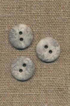 2-huls knap lysegrå i sten-look, 15 mm.