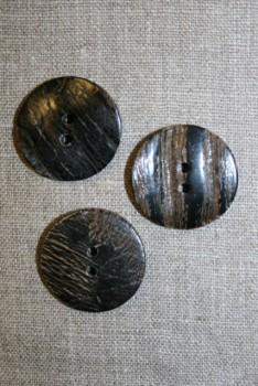 Horn-knap rund 2 huls i brun og sort, 30 mm.