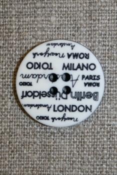 4-huls knap knækket hvid med tekst, 23 mm.
