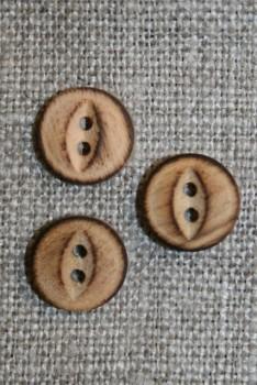 Lille 2-huls træ knap brændt, 10 mm.