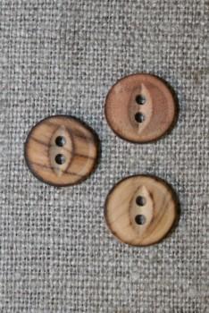 Lille 2-huls træ knap brændt, 11 mm.