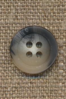 4-huls knap meleret hvid grå 15 mm.