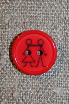 Knap med dreng og pige, rød