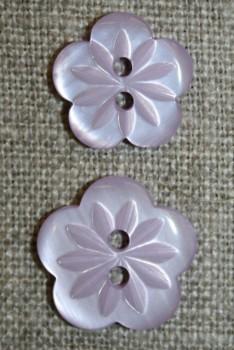 Blomster knap lyselilla i 2 str.