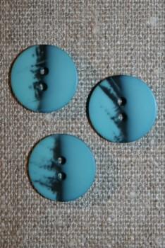 2-huls knap meleret lys petrol - sort, 18 mm.