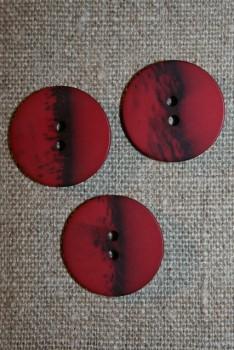 2-huls knap meleret bordeaux - sort, 23 mm.