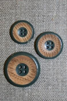 4-huls træ knap med mønster og kant i grøn i 3 str.