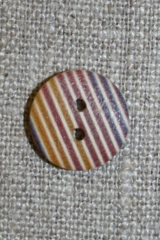 Træ-knap med striber 15 mm.