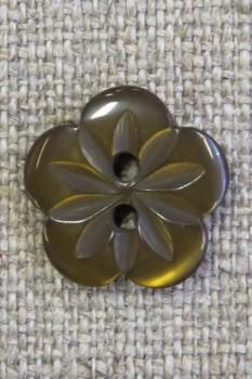 Blomster knap i brun, 15 mm.