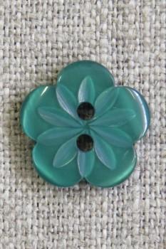 Blomster knap i grøn, 15 mm.