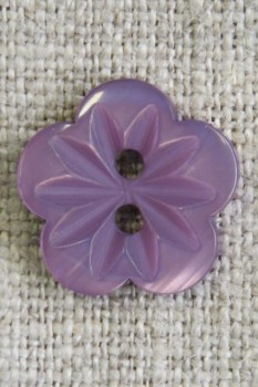 Blomster knap i lilla/lyng, 15 mm.