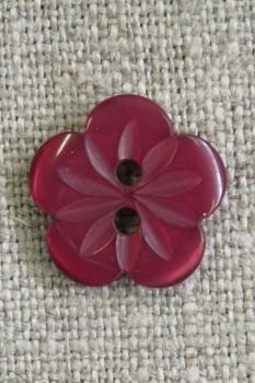 Blomster knap i bordeaux, 15 mm.